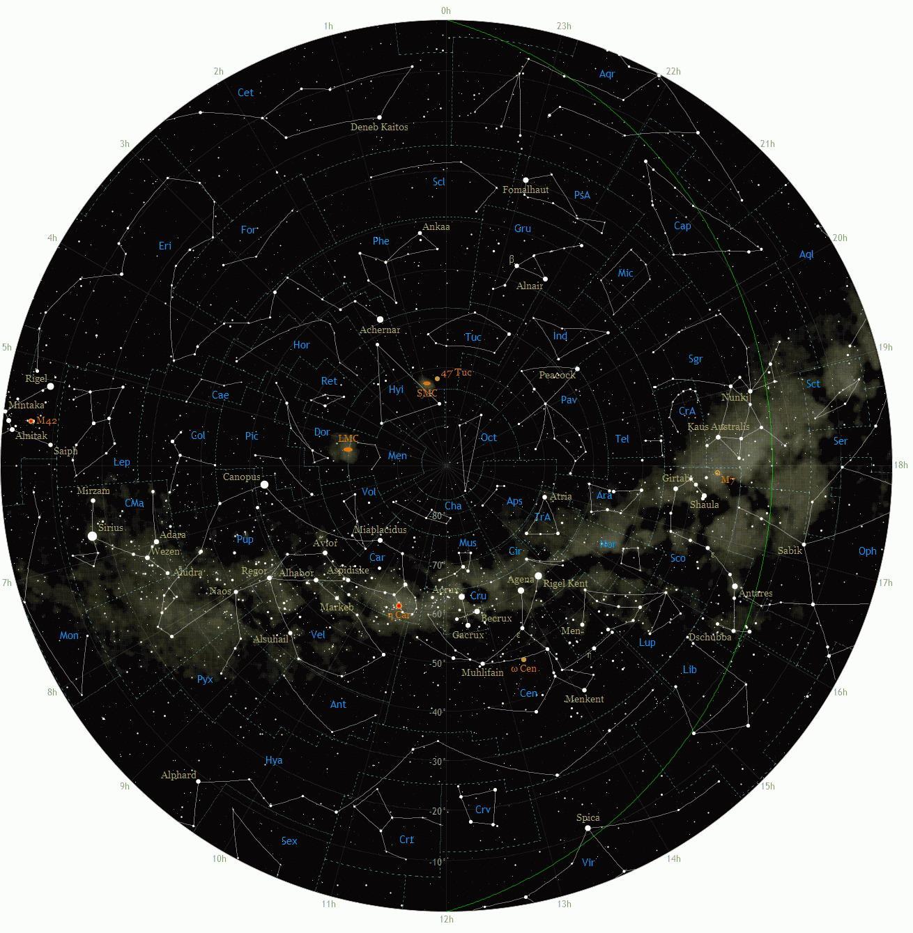 نقشه ستاره های نیمکره جنوبی